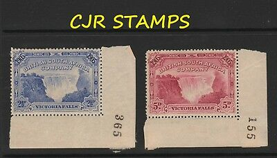 RHODESIA 1905 FALLS  2.5d & 5d  w/SHEET NUMBERS   -    L/M/MINT  -  CREASE ON 5d
