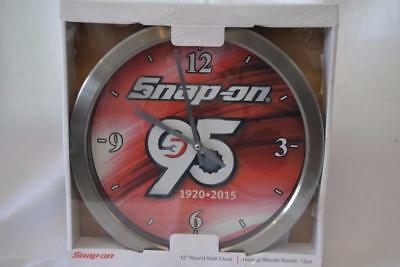 """Snap-On Tools SN09-1859S 95 Year Anniversary 12"""" Round Wall Clock  New! Free Shp"""