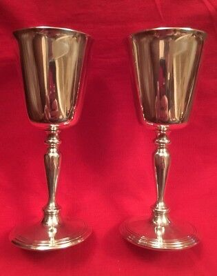 Pair Of Vintage Silver Plated Sherry Schooners