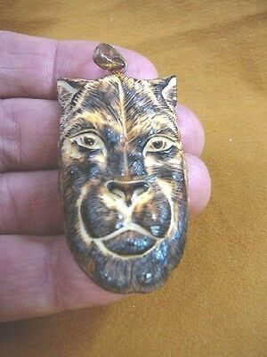 (j-panther-6) wild Panther aceh bovine bone carving PENDANT brown face panthers
