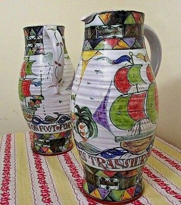 Harriet Coleridge Studio Pottery Vases - 31cm  Signed & Label - Ewelme Pottery