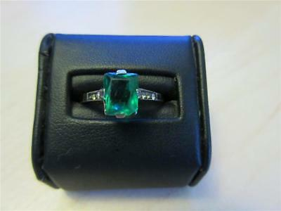 VINTAGE ART DECO 9ct GOLD & SILVER PASTE EMERALD & DIAMOND COCKTAIL RING c1930's