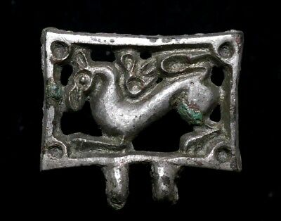 Germanic Silver Openwork Rectangular Belt Mount with a Griffin, 7th-9thC