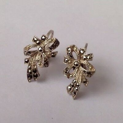 Antique / Vintage c1930's Art Deco Solid Silver & Marcasite Screw back Earrings.