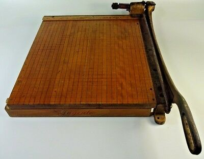 """Vintage INGENTO No.5 Solid Maple Heavy Duty Cast Iron Paper Cutter Trimmer 15"""""""