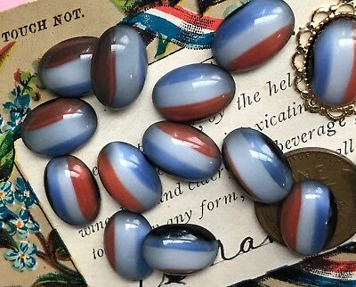 Vintage Glass Cabochons, Oval 14/10mm, Western Germany, Red White Blue #B120