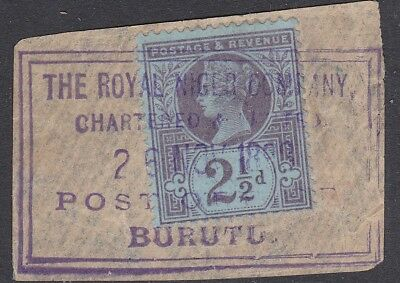 GB used abroad in BURUTU ROYAL NIGER TERR 2½d JUBILEE ON DATED PIECE seriffed
