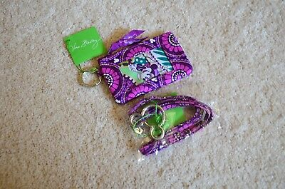 Vera Bradley Plums Up Mickey Zip ID Case & Lanyard New With Tag
