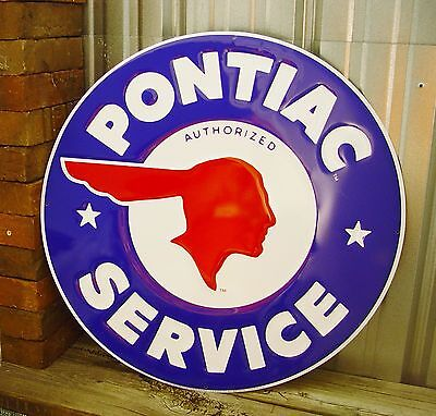 "Pontiac Service Large 24"" Round Metal Tin Sign Vintage Shop Garage Dealer Blue"