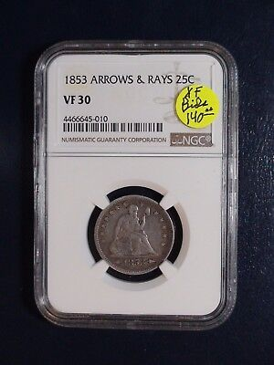 1853 ARROWS & RAYS Seated Quarter NGC VF30 25C Coin PRICED TO SELL NOW!