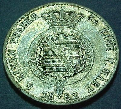 Germany German States - Saxe-Coburg-Gotha - 1852F - !/6 Thaler - Old Silver Coin