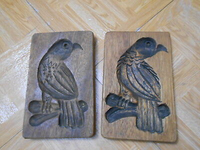 2 Wood Carved Birds hand carved wall hangings