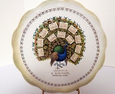 Limoges 1910 Calendar Plate Peacock Design 7½ Inches Newaygo Michigan