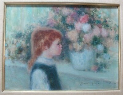 Superb Original ANDRE GISSON Oil Painting of Young Child  c. 1950s  French