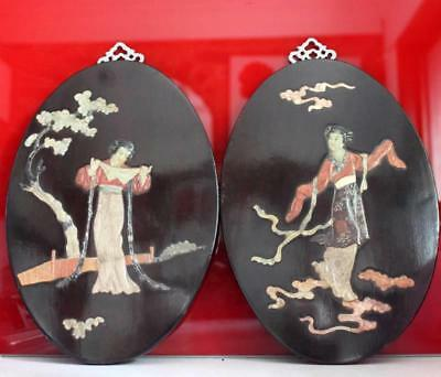 Antique Chinese Dancing Girls Pair Black Lacquer Wall Plaques Plates Jade Stone