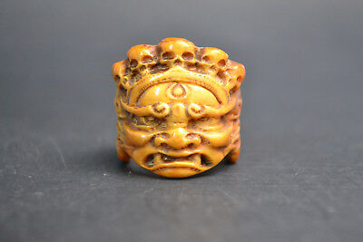 fine Collectible Old resin horn handwork carve Buddha Noble Skull Ring Decor