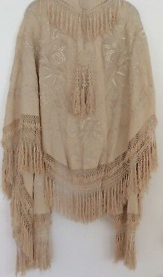 Antique Silk Victorian Edwardian Piano Shawl Cape Embroidery Wearable Art #2