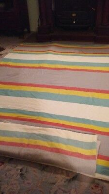 Pair Vintage Cotton Twin Coverlets Spreads Rainbow Stripe