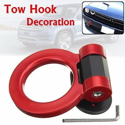 1Set Universal Car Truck Ring Track Racing Style Tow Hook Look Decoration Red