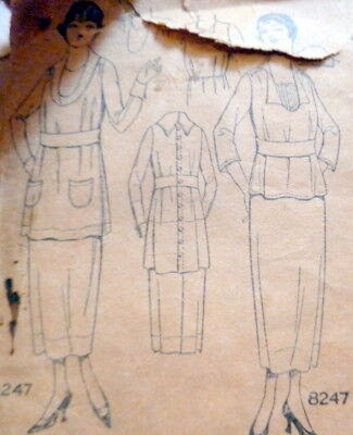 RARE VTG 1920s DRESS PICTORIAL REVIEW Sewing Pattern BUST 36
