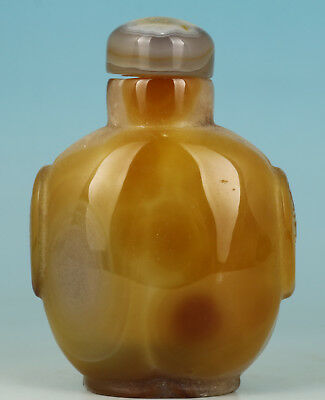 Chinese Natural yellow  Agate Hand Carved Statue Snuff Bottle