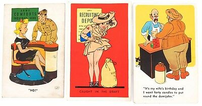 .WW2 1930s / 1940s 3 x AUSTRALIAN MILITARY RELATED COMICAL POSTCARDS.