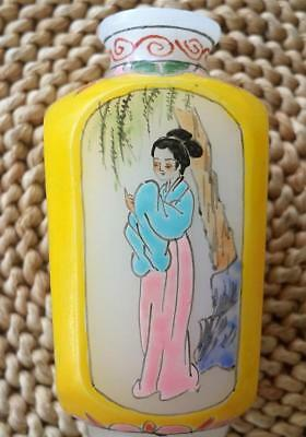 Antique Chinese Milk Glass Snuff Scent Bottle RARE Musical Ladies Spoon incl