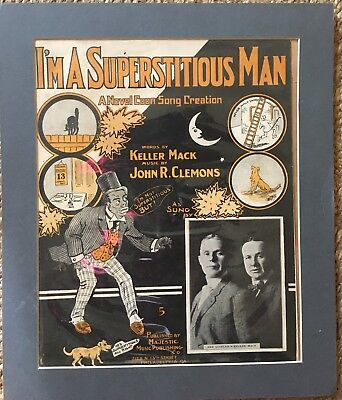 1903 I'm A superstitious Man Coon Song Minstrel Sheet Music Rag Black Americana