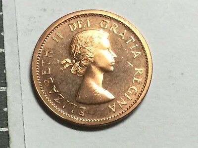 CANADA 1964 1 Cent coin prooflike, spot reverse