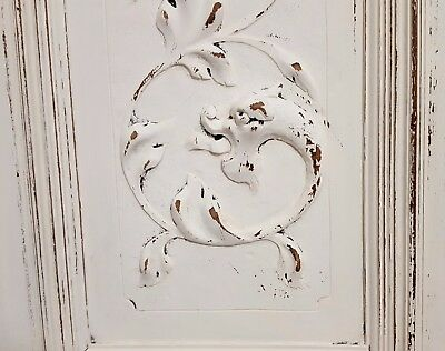 "Shabby Carved Wood Cabinet Panel Door 25"" Matched Pair Antique French Griffin"