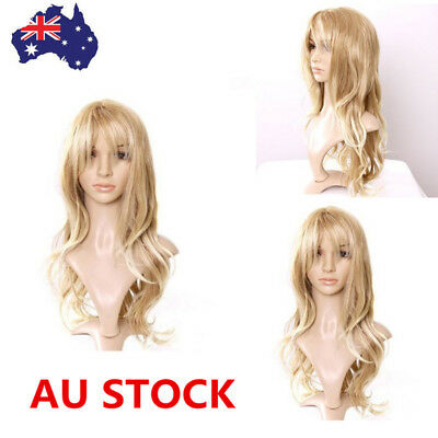 65cm Women Light Blonde Long Wavy Curly Hair Costume Cosplay Party Wig+Wig Cap