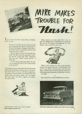 Mike Makes Trouble for Nash Ambassador Airflyte ad by Ed Zern 1954