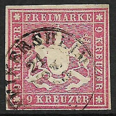 WURTTEMBERG 1859 Arms 9k Rose SG 27 Used (Cat £130)