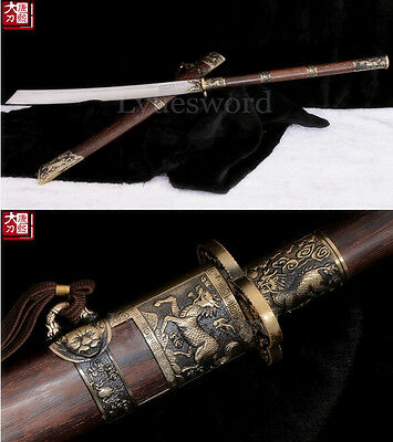 Hand Forged Damascus Steel Chinese Sword Dao Blade Very Sharp Hualee Wooden Saya