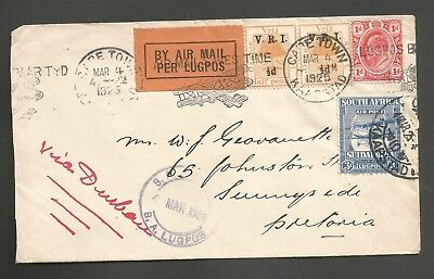 SOUTH AFRICA , 1925 AIRMAIL COVER WITH 3d   AIRMAIL STAMP CAPETOWN  TO DURBAN