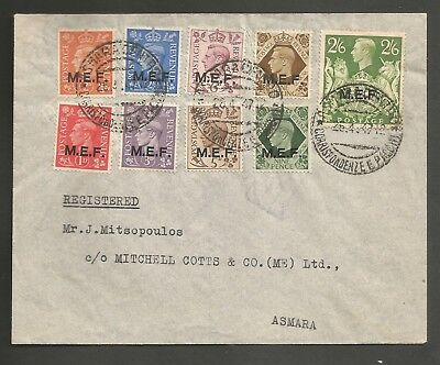 GB OCCUPATION ITALIAN COLONIES , M.E.F , 8 VALUES TO 2/6d ON COVER ASMARA, 1946