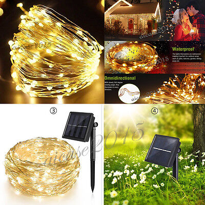 22M 200 LED Solar Powered Fairy String Light Outdoor Garden Party Xmas Lamps