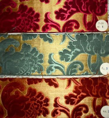 3 BEAUTIFUL ANTIQUE FRENCH SILK SAMPLES, ORIGINAL LABELS c1900, REF PROJECTS