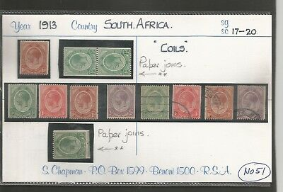 South Africa 1913 Kings Heads , Coil Stamps  Mounted  Mint &  Used , Paper Joins