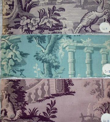 3 BEAUTIFUL ANTIQUE FRENCH BROCADE SAMPLES, ORIGINAL LABELS c1900, REF PROJECTS