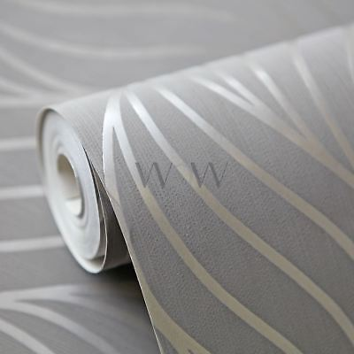 Maddox Geometric Wave Wallpaper Rolls Taupe - Holden Decor 65260 Metallic