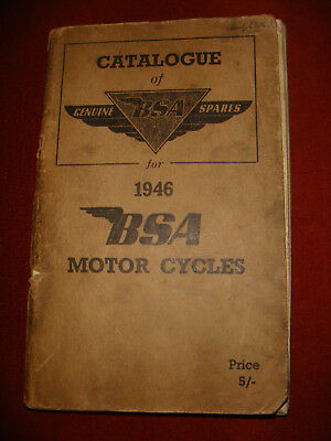 Vintage BSA Motor Cycle Spare Parts Catalogue for 1946 Models