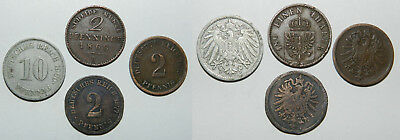Germany : 4 Old Coins  - 1868, 1875, 1877, 1900