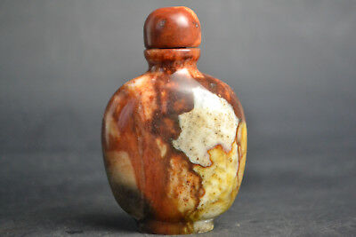 Vintage Collectible Noble Old Natural Jade beautiful burnish China Snuff Bottle
