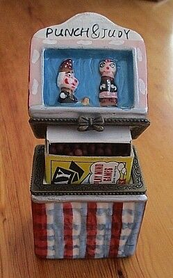 Vintage Punch & Judy Ceramic Hand Painted Matchbox Holder / Case / Cover