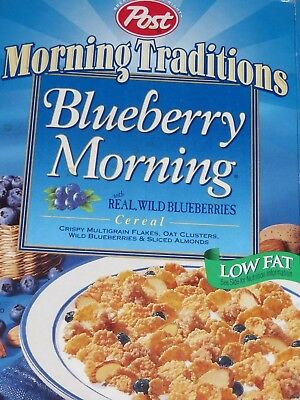 1998 Post Morning Traditions BLUEBERRY MORNING Blue Cereal Box empty flat