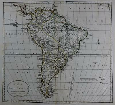 SOUTH AMERICA  WILLIAM DARTON   LARGE ENGRAVED MAP ORIGINAL HAND COLOUR   c1792