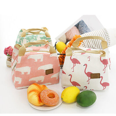 CO_ Cute Flamingo Bear Insulated Thermal Lunch Storage Bag Picnic Case Pouch Nov