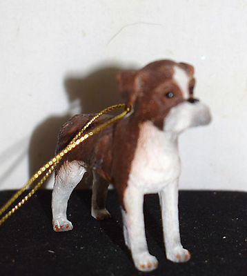 Estate=Christmas Ornament Boxer Pup Dog for Holiday Display LOOK Resin