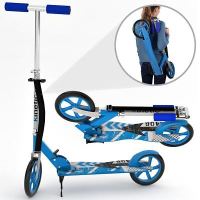 Kinetic Sports Scooter Cityroller Tretroller Klappbar XXL Räder 100kg BLAU